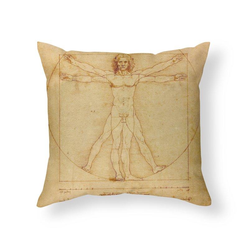 Leonardo Da Vinci Vitruvian Man draw Home Throw Pillow by ALMA VISUAL's Artist Shop