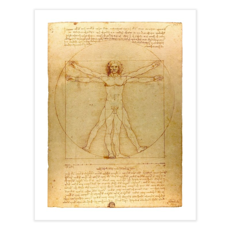 Leonardo Da Vinci Vitruvian Man draw Home Fine Art Print by ALMA VISUAL's Artist Shop