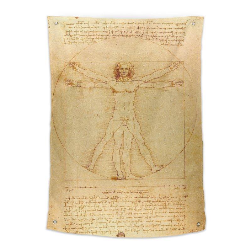 Leonardo Da Vinci Vitruvian Man draw Home Tapestry by ALMA VISUAL's Artist Shop