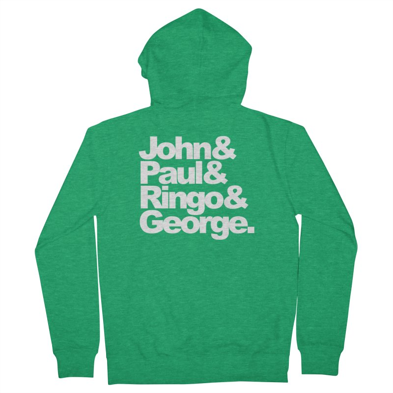 John and Paul and Ringo and George - black background Women's Zip-Up Hoody by ALMA VISUAL's Artist Shop