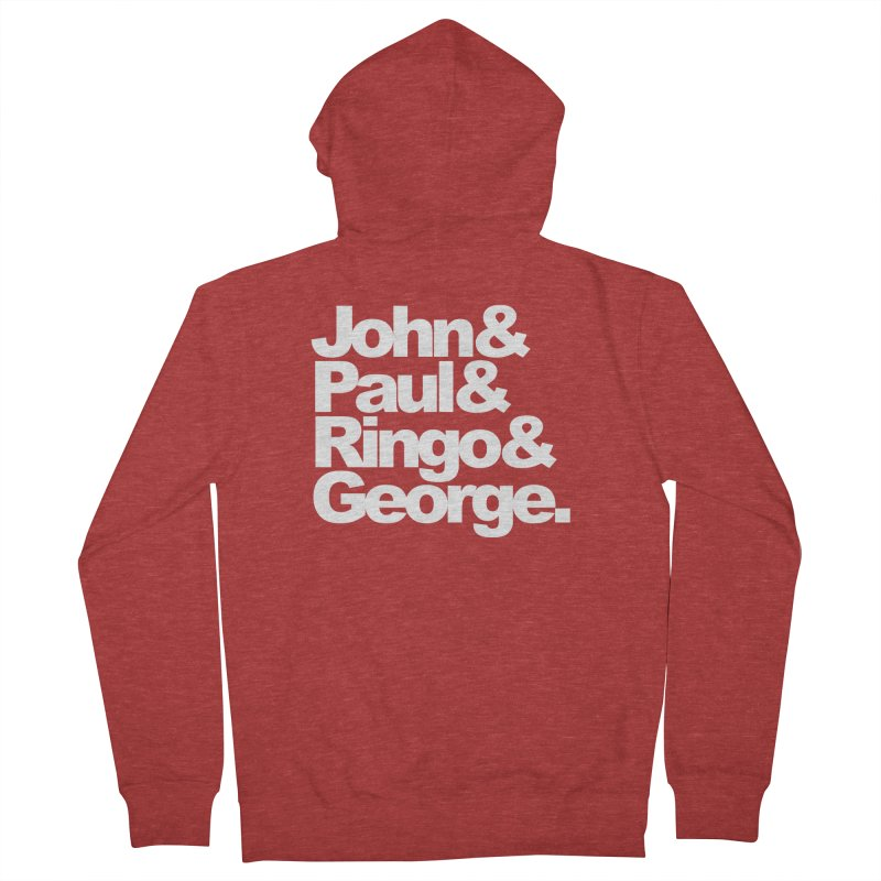 John and Paul and Ringo and George - black background Men's Zip-Up Hoody by ALMA VISUAL's Artist Shop