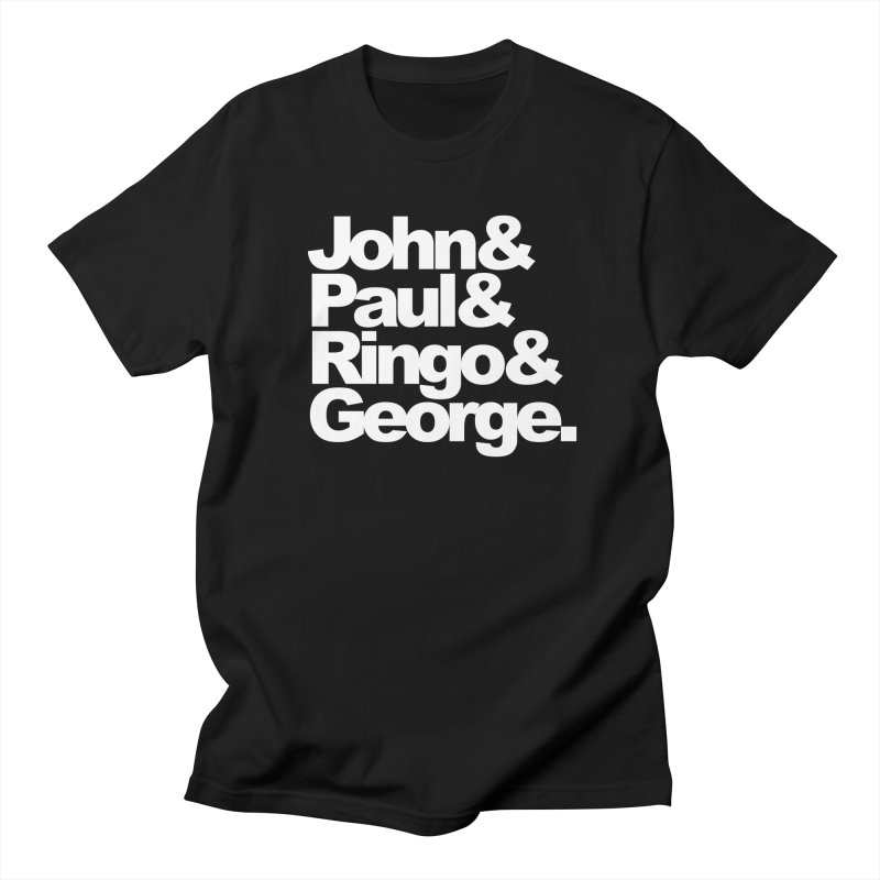 John and Paul and Ringo and George - black background Men's T-shirt by ALMA VISUAL's Artist Shop