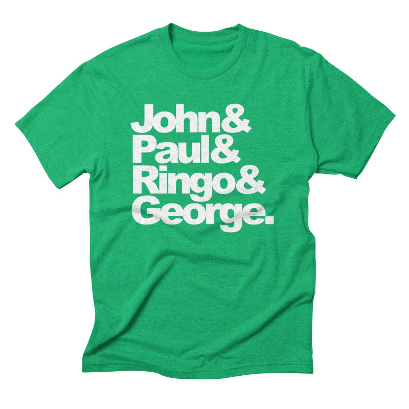 John and Paul and Ringo and George - black background Men's Triblend T-shirt by ALMA VISUAL's Artist Shop