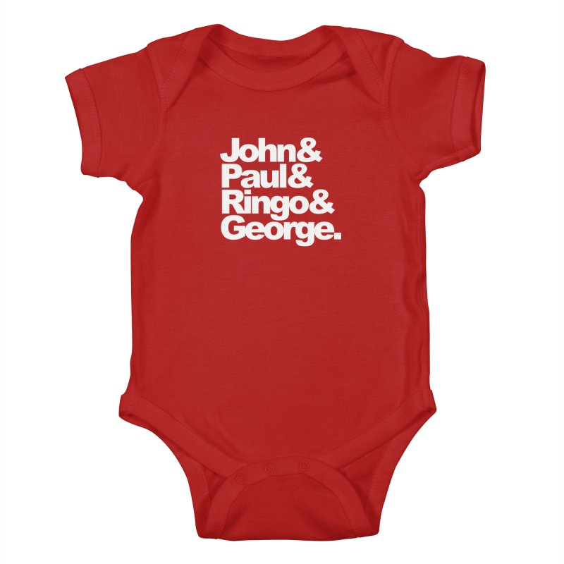 John and Paul and Ringo and George - black background Kids Baby Bodysuit by ALMA VISUAL's Artist Shop