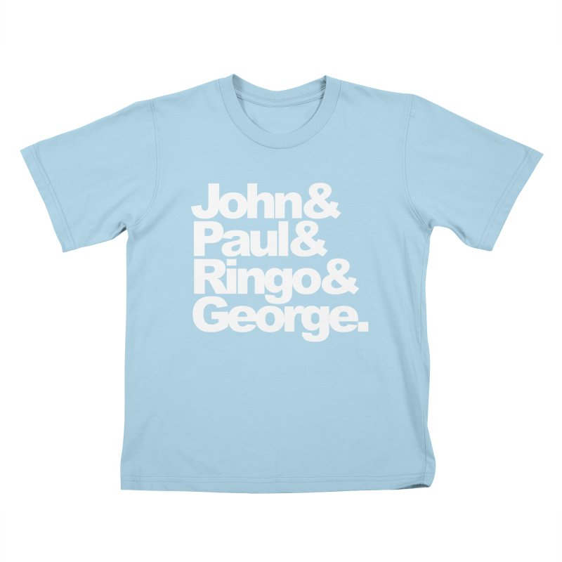 John and Paul and Ringo and George - black background Kids T-shirt by ALMA VISUAL's Artist Shop