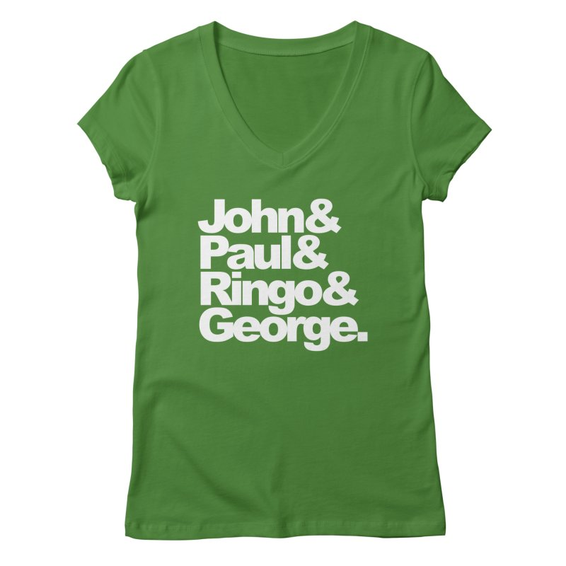 John and Paul and Ringo and George - black background Women's V-Neck by ALMA VISUAL's Artist Shop