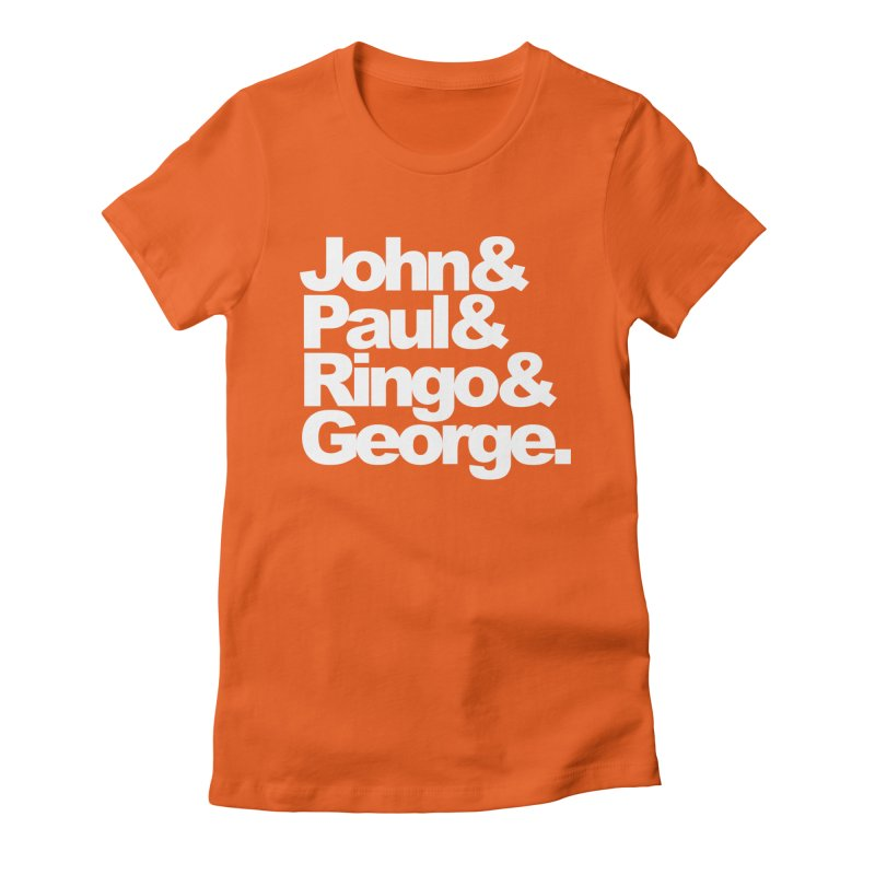 John and Paul and Ringo and George - black background Women's Fitted T-Shirt by ALMA VISUAL's Artist Shop