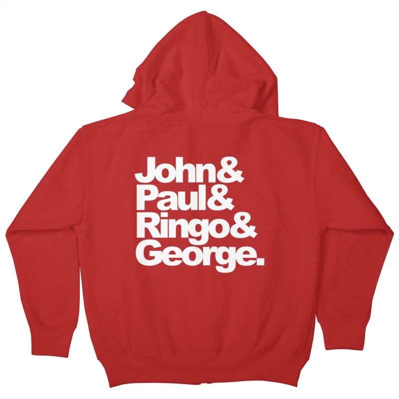 John and Paul and Ringo and George - black background Kids Zip-Up Hoody by ALMA VISUAL's Artist Shop