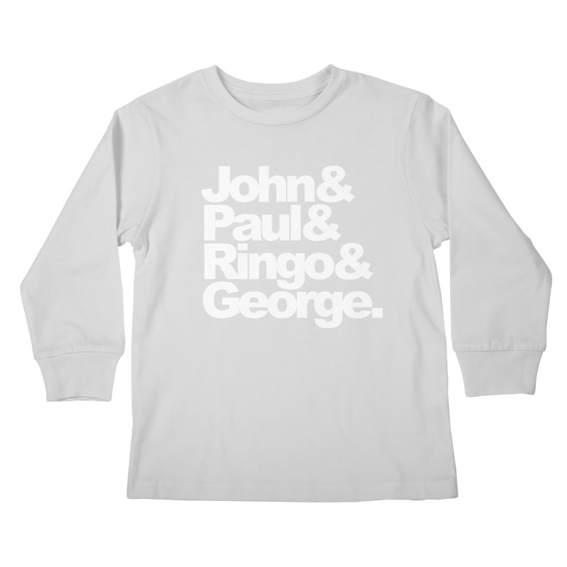 John and Paul and Ringo and George - black background Kids Longsleeve T-Shirt by ALMA VISUAL's Artist Shop