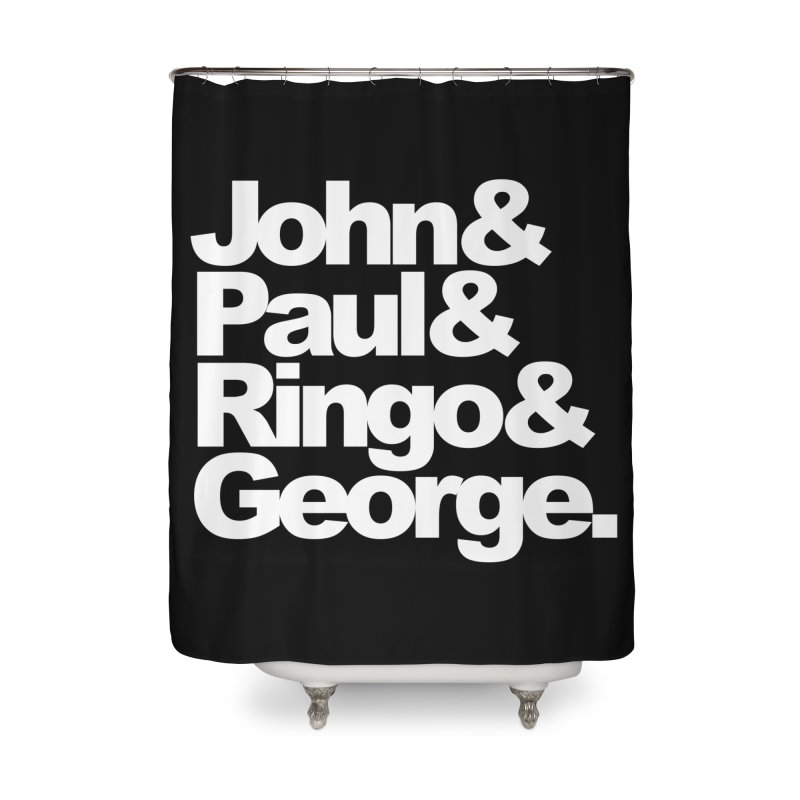 John and Paul and Ringo and George - black background Home Shower Curtain by ALMA VISUAL's Artist Shop