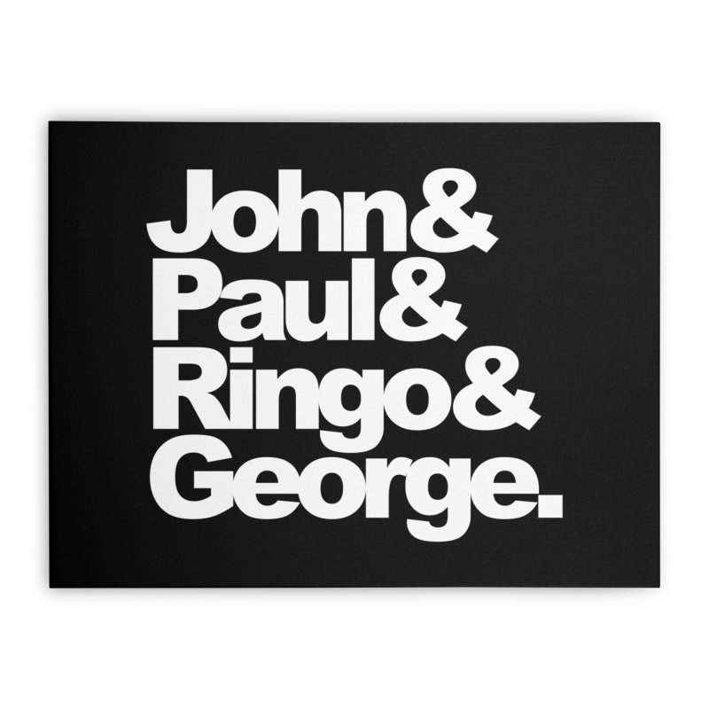 John and Paul and Ringo and George - black background Home Stretched Canvas by ALMA VISUAL's Artist Shop