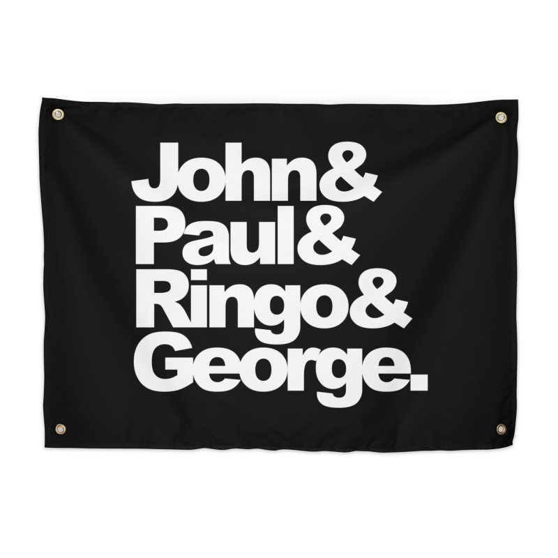 John and Paul and Ringo and George - black background Home Tapestry by ALMA VISUAL's Artist Shop