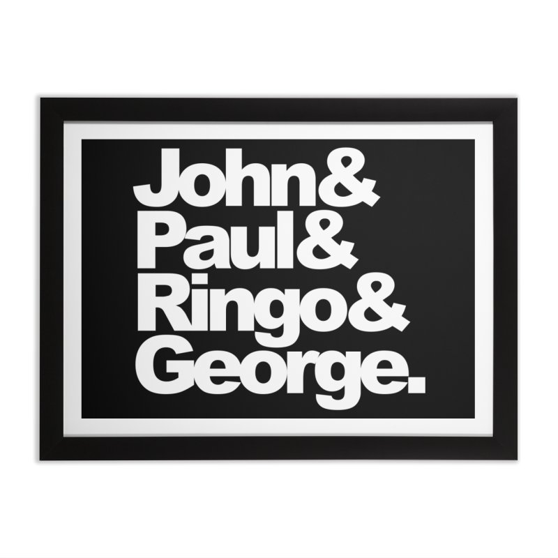 John and Paul and Ringo and George - black background Home Framed Fine Art Print by ALMA VISUAL's Artist Shop