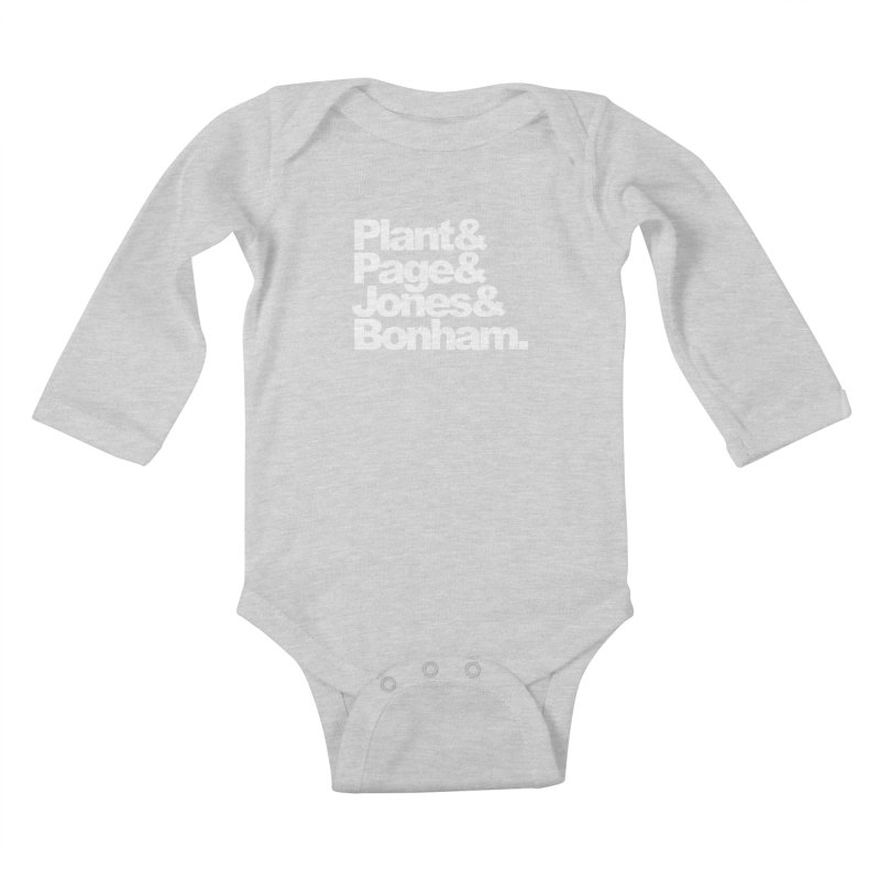 Plant and Page and Jones and Bonham - black background Kids Baby Longsleeve Bodysuit by ALMA VISUAL's Artist Shop