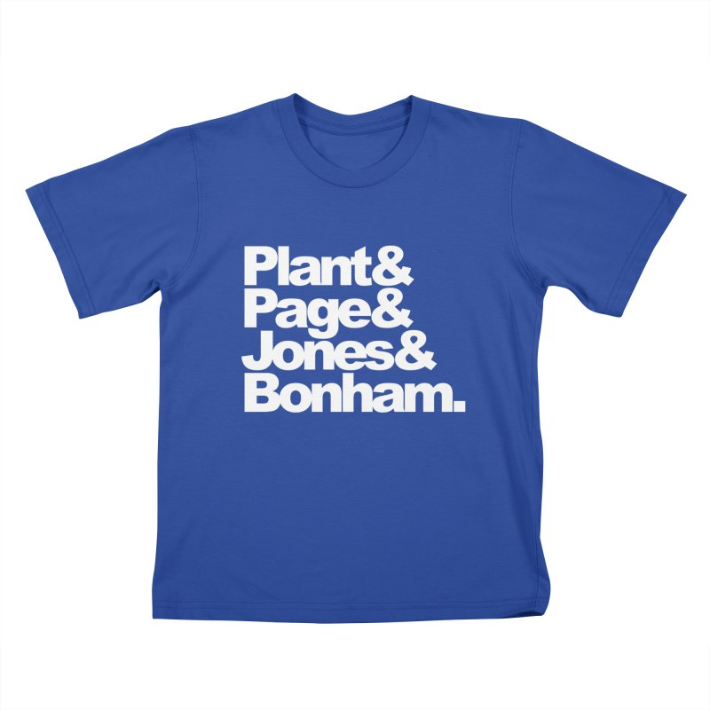 Plant and Page and Jones and Bonham - black background Kids T-shirt by ALMA VISUAL's Artist Shop