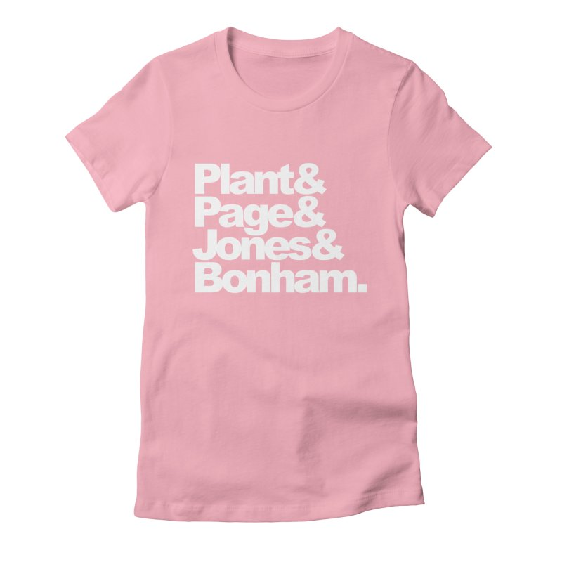 Plant and Page and Jones and Bonham - black background Women's Fitted T-Shirt by ALMA VISUAL's Artist Shop