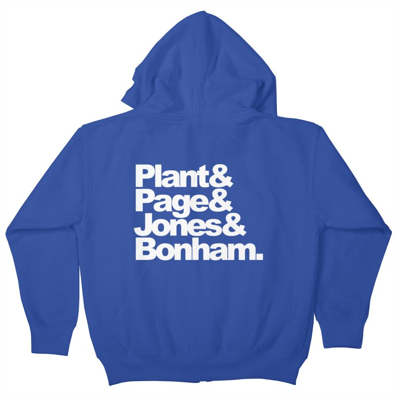 Plant and Page and Jones and Bonham - black background Kids Zip-Up Hoody by ALMA VISUAL's Artist Shop