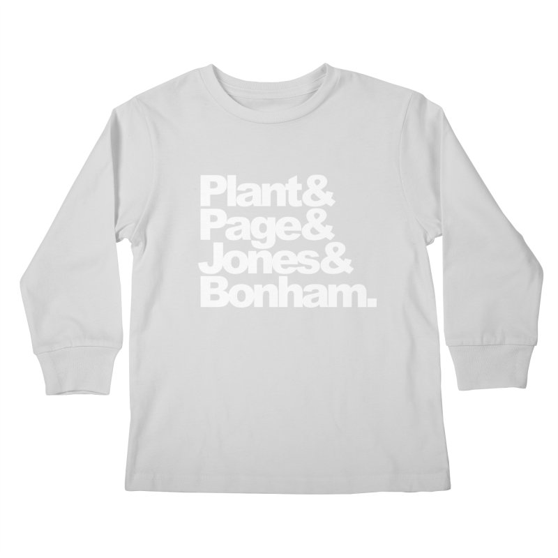 Plant and Page and Jones and Bonham - black background Kids Longsleeve T-Shirt by ALMA VISUAL's Artist Shop