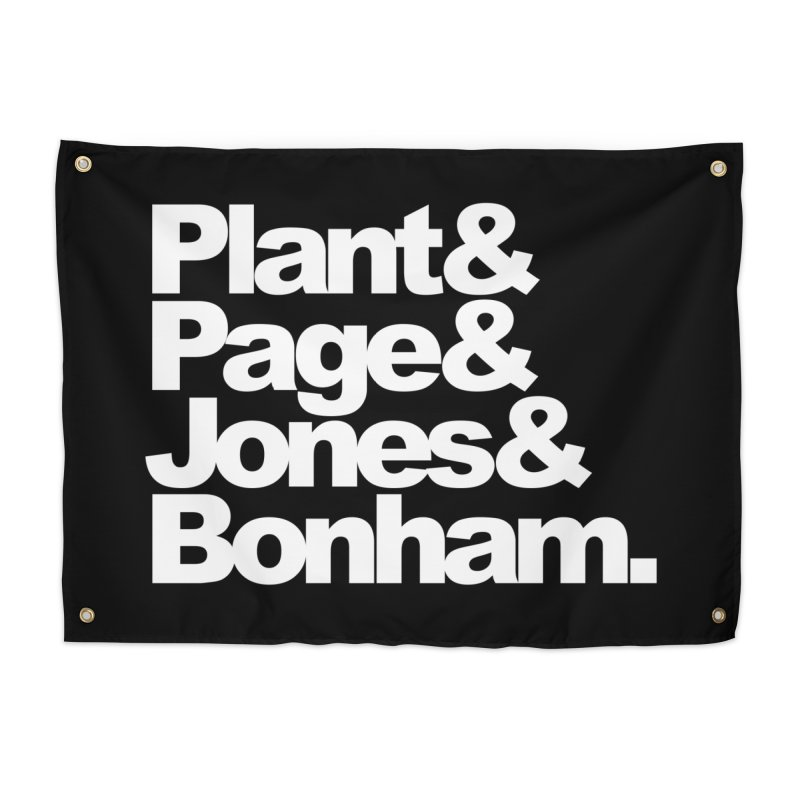 Plant and Page and Jones and Bonham - black background Home Tapestry by ALMA VISUAL's Artist Shop