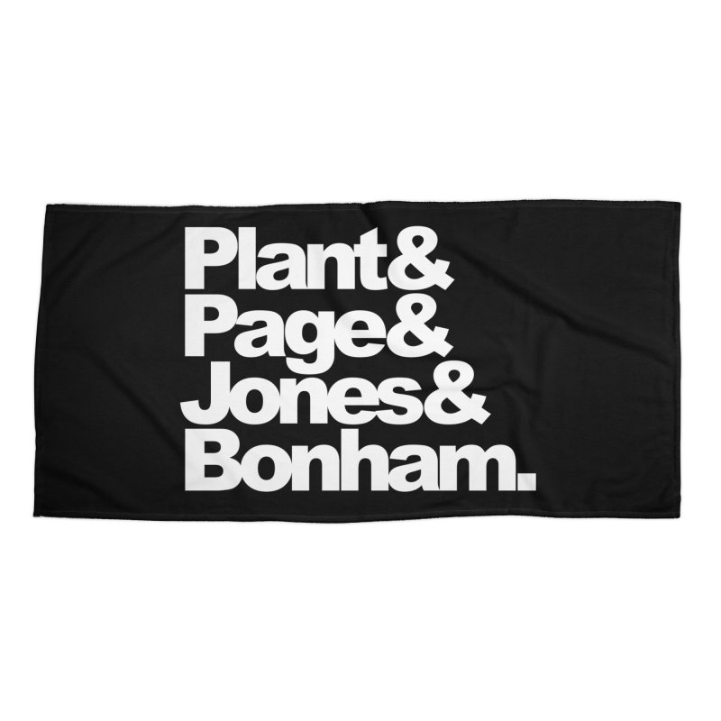 Plant and Page and Jones and Bonham - black background Accessories Beach Towel by ALMA VISUAL's Artist Shop