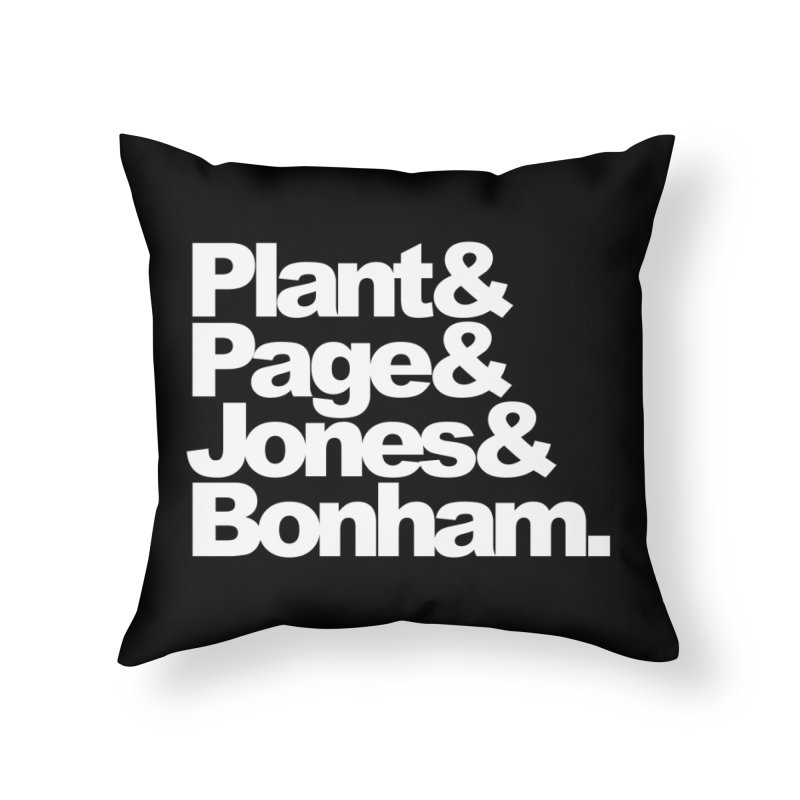 Plant and Page and Jones and Bonham - black background Home Throw Pillow by ALMA VISUAL's Artist Shop