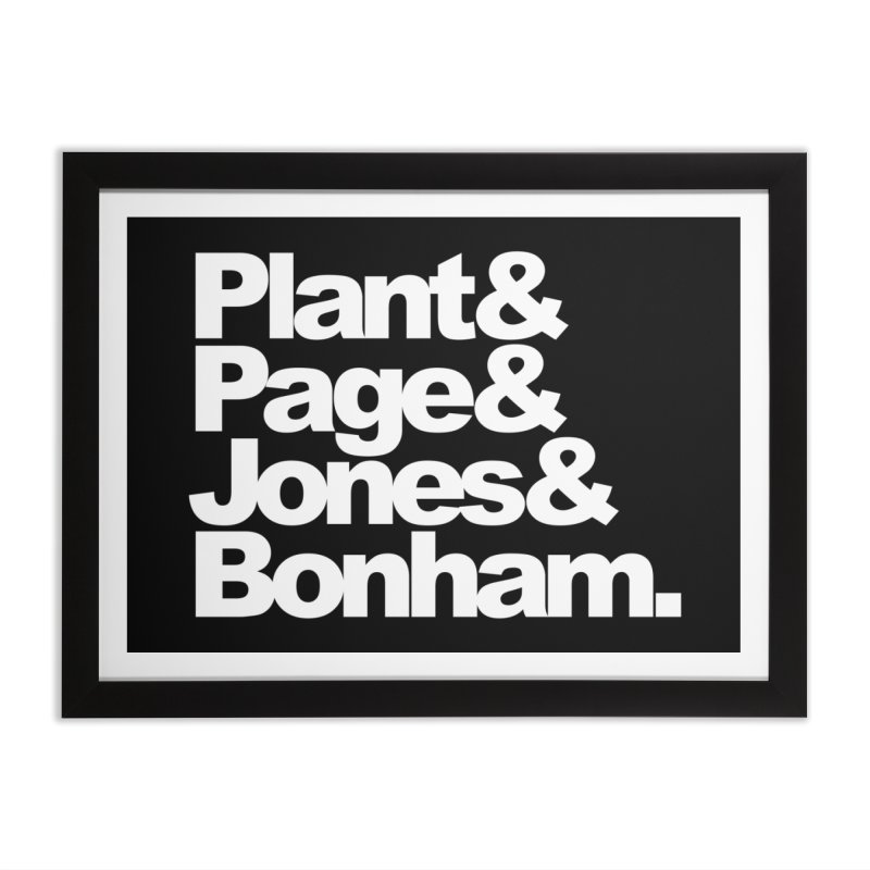 Plant and Page and Jones and Bonham - black background Home Framed Fine Art Print by ALMA VISUAL's Artist Shop