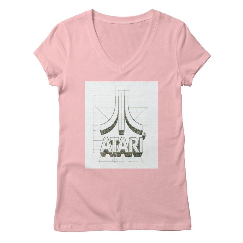 atari logo sketch Women's V-Neck by ALMA VISUAL's Artist Shop
