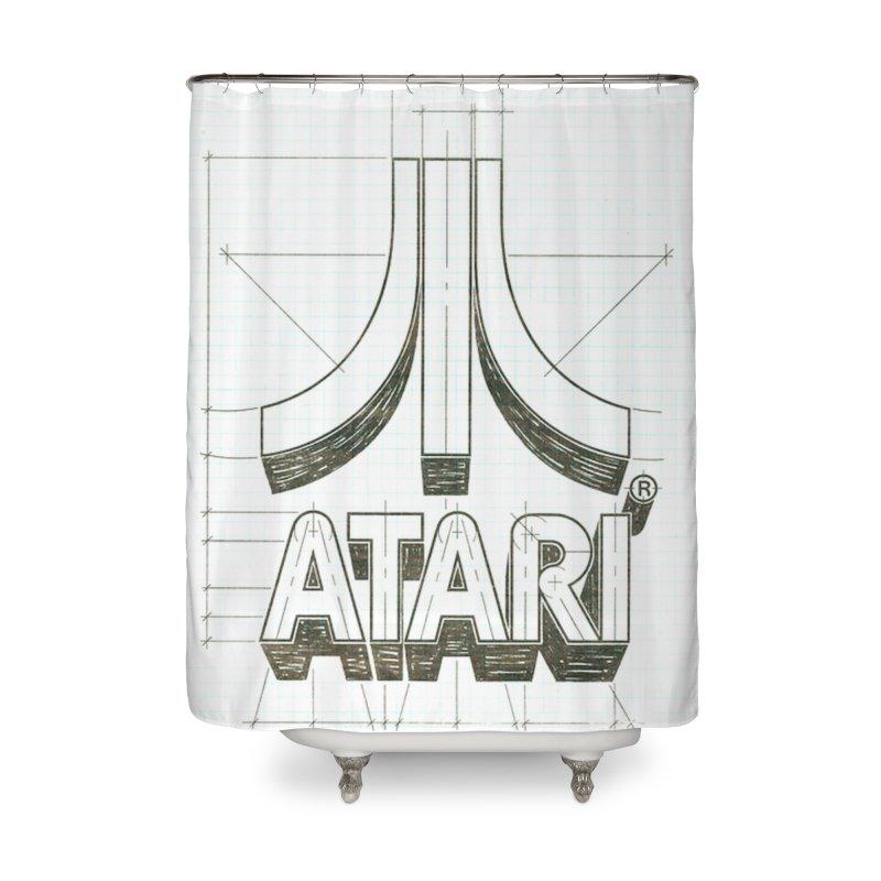 atari logo sketch Home Shower Curtain by ALMA VISUAL's Artist Shop