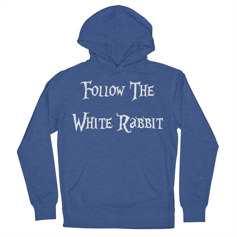 Follow The White Rabbit BLACK BACKGROUND Men's Pullover Hoody by ALMA VISUAL's Artist Shop