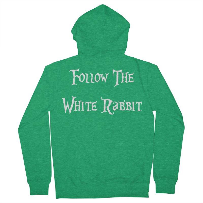 Follow The White Rabbit BLACK BACKGROUND Women's Zip-Up Hoody by ALMA VISUAL's Artist Shop