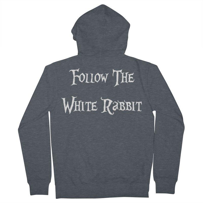 Follow The White Rabbit BLACK BACKGROUND Men's Zip-Up Hoody by ALMA VISUAL's Artist Shop