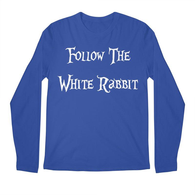 Follow The White Rabbit BLACK BACKGROUND Men's Longsleeve T-Shirt by ALMA VISUAL's Artist Shop