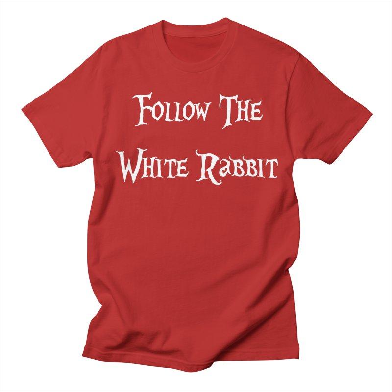 Follow The White Rabbit BLACK BACKGROUND Men's T-shirt by ALMA VISUAL's Artist Shop