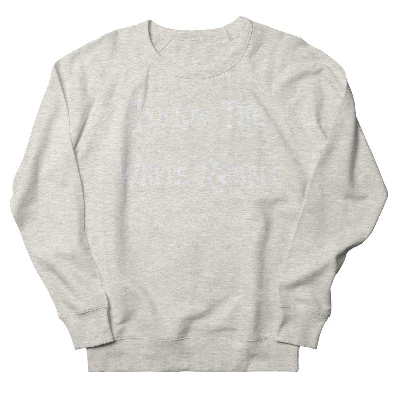 Follow The White Rabbit BLACK BACKGROUND Men's Sweatshirt by ALMA VISUAL's Artist Shop