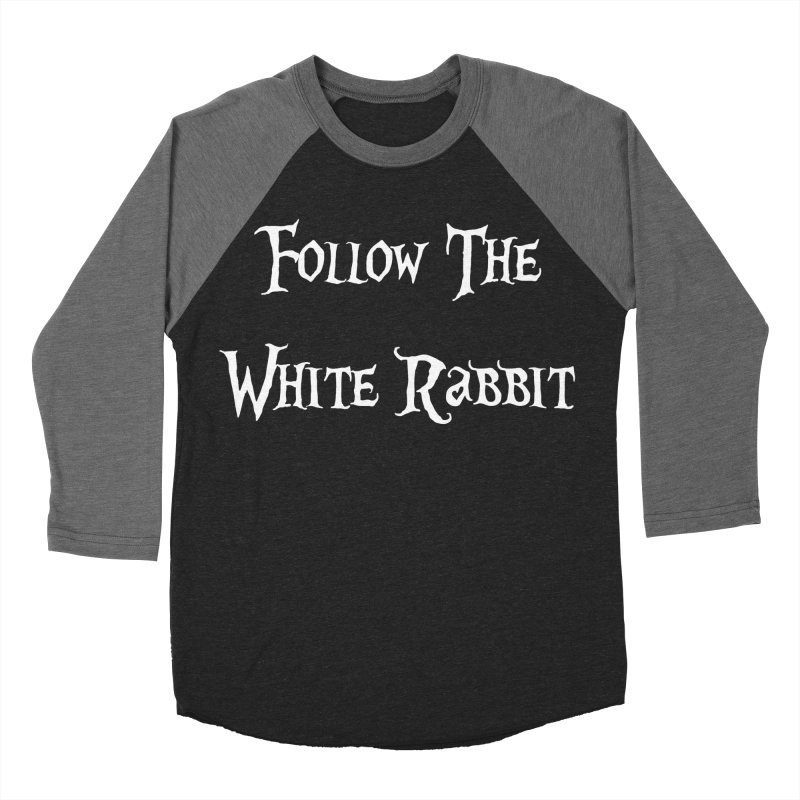 Follow The White Rabbit BLACK BACKGROUND Men's Baseball Triblend T-Shirt by ALMA VISUAL's Artist Shop