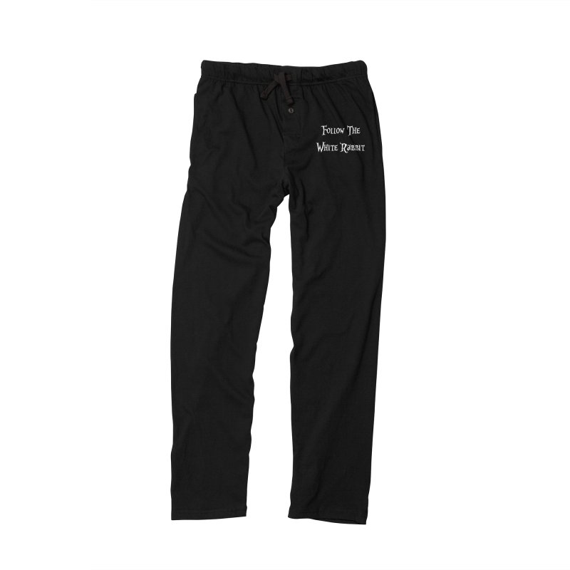 Follow The White Rabbit BLACK BACKGROUND Women's Lounge Pants by ALMA VISUAL's Artist Shop