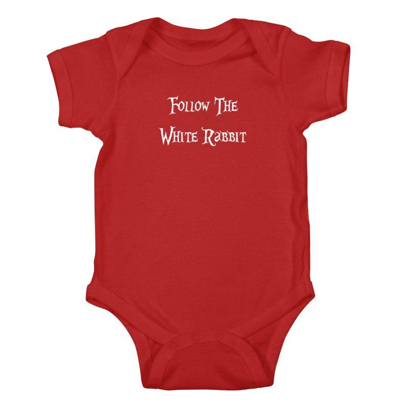 Follow The White Rabbit BLACK BACKGROUND Kids Baby Bodysuit by ALMA VISUAL's Artist Shop