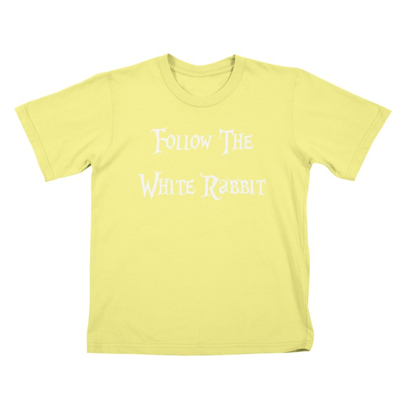 Follow The White Rabbit BLACK BACKGROUND Kids T-shirt by ALMA VISUAL's Artist Shop
