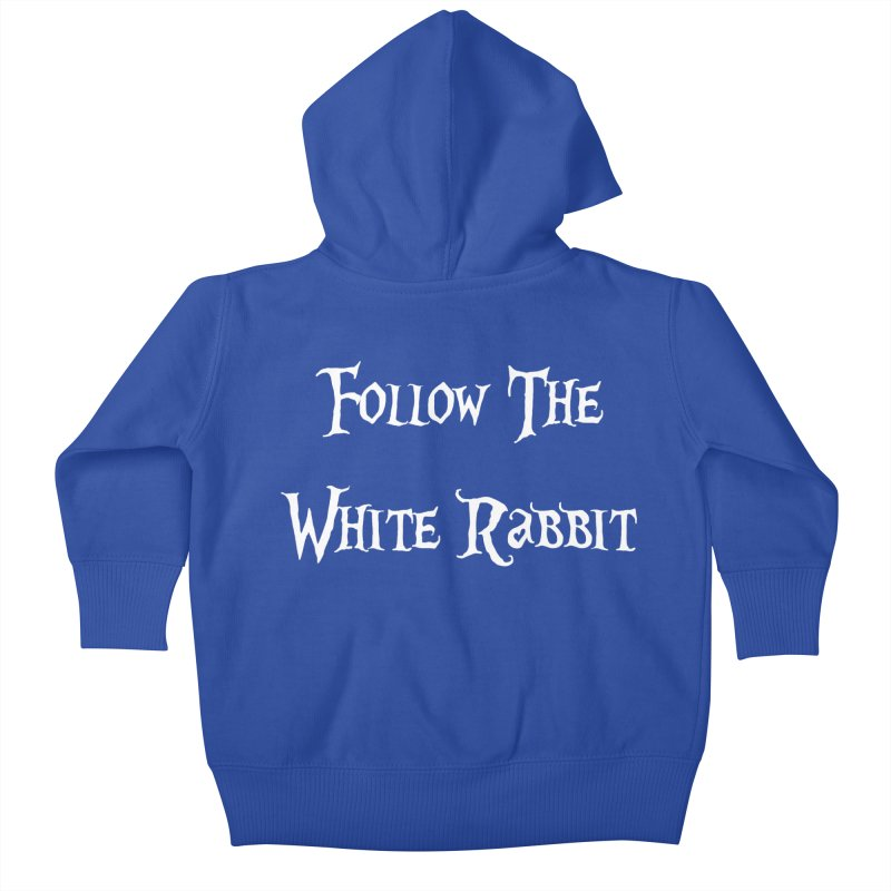 Follow The White Rabbit BLACK BACKGROUND Kids Baby Zip-Up Hoody by ALMA VISUAL's Artist Shop