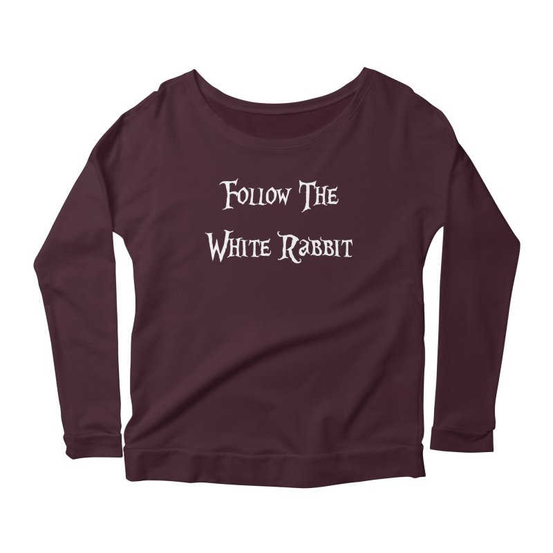 Follow The White Rabbit BLACK BACKGROUND Women's Longsleeve Scoopneck  by ALMA VISUAL's Artist Shop