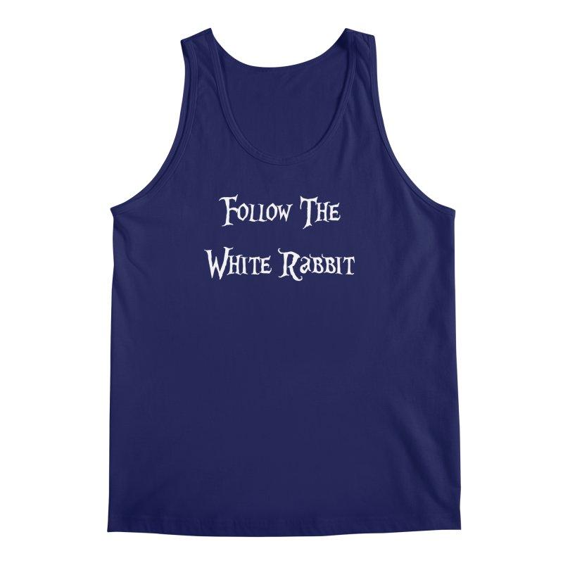 Follow The White Rabbit BLACK BACKGROUND Men's Tank by ALMA VISUAL's Artist Shop