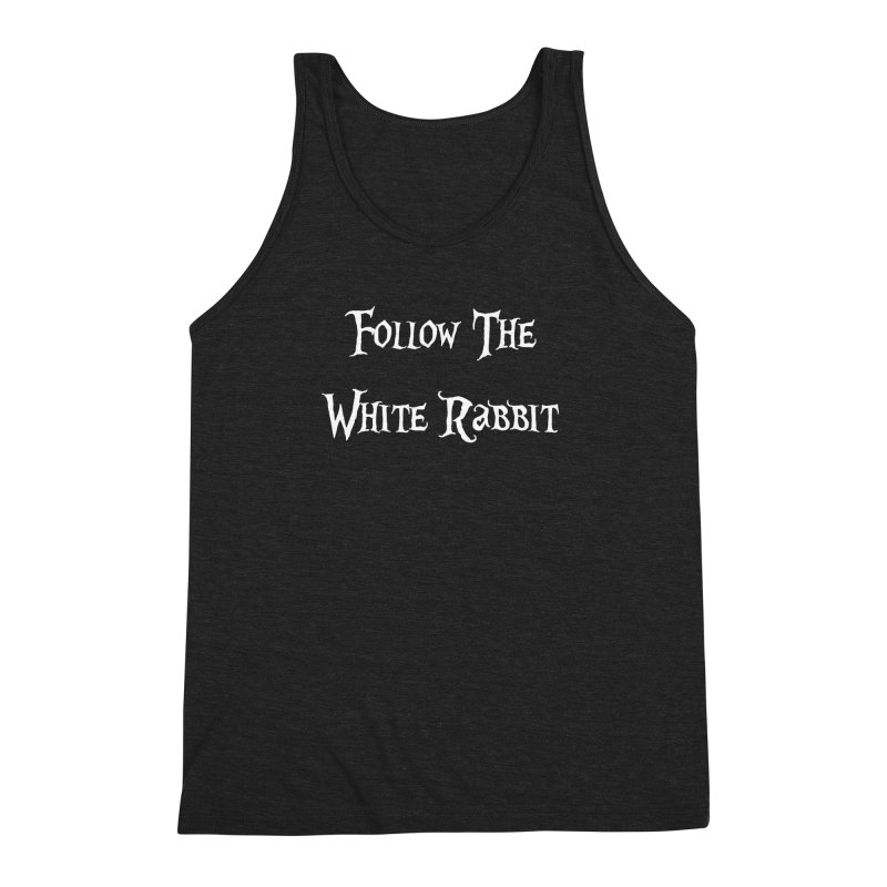 Follow The White Rabbit BLACK BACKGROUND Men's Triblend Tank by ALMA VISUAL's Artist Shop