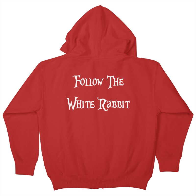 Follow The White Rabbit BLACK BACKGROUND Kids Zip-Up Hoody by ALMA VISUAL's Artist Shop