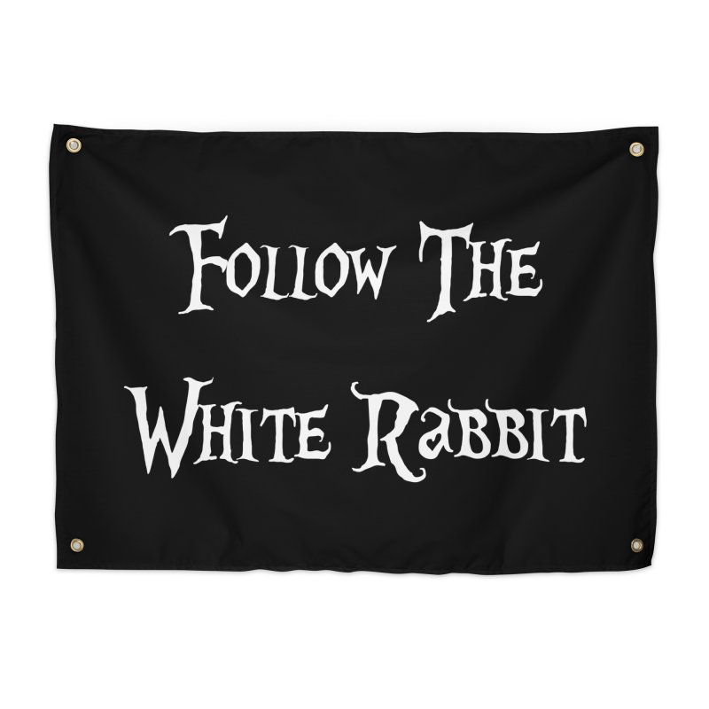 Follow The White Rabbit BLACK BACKGROUND Home Tapestry by ALMA VISUAL's Artist Shop