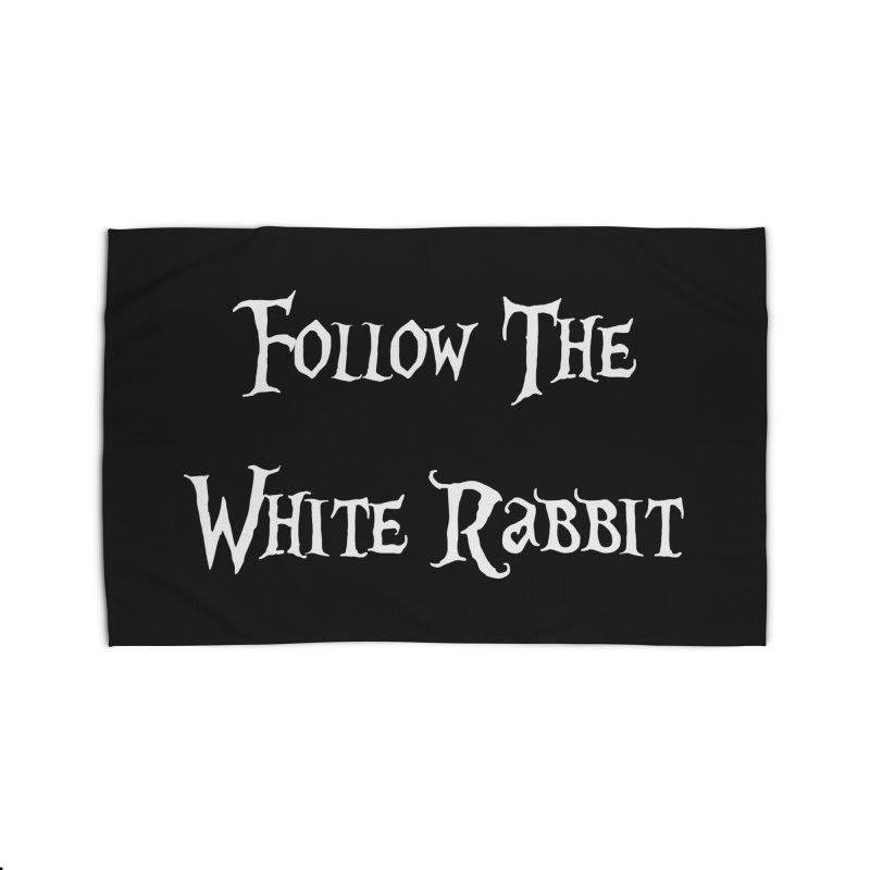 Follow The White Rabbit BLACK BACKGROUND Home Rug by ALMA VISUAL's Artist Shop