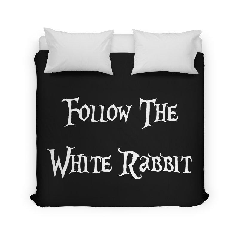 Follow The White Rabbit BLACK BACKGROUND Home Duvet by ALMA VISUAL's Artist Shop