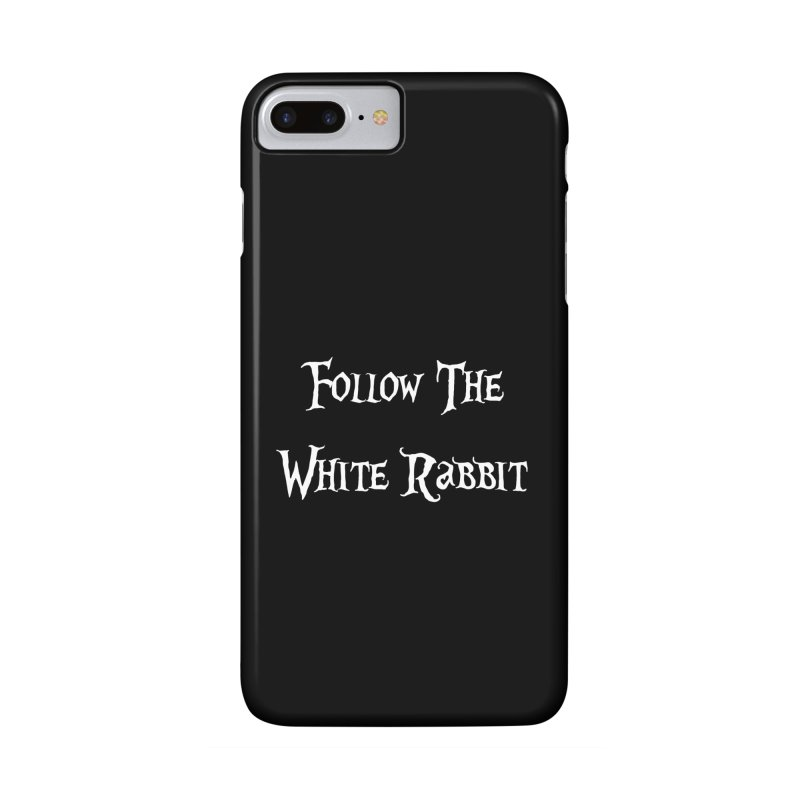Follow The White Rabbit BLACK BACKGROUND Accessories Phone Case by ALMA VISUAL's Artist Shop