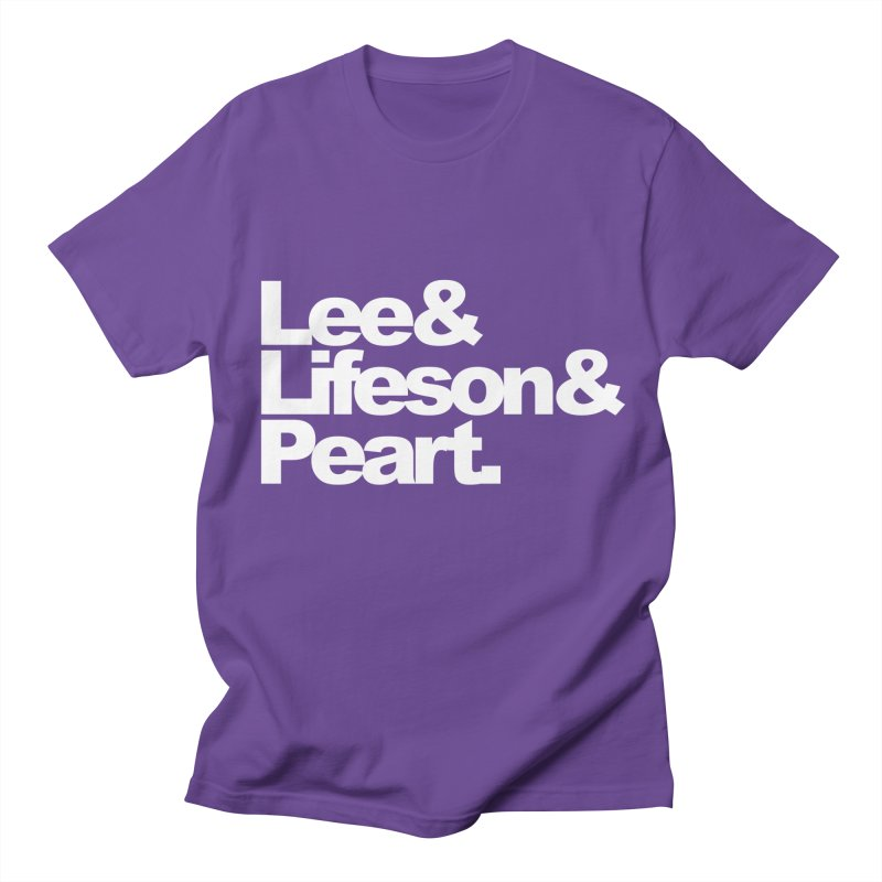 Lee and Lifeson and Peart - black background Men's T-shirt by ALMA VISUAL's Artist Shop