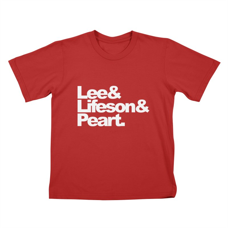 Lee and Lifeson and Peart - black background Kids T-shirt by ALMA VISUAL's Artist Shop