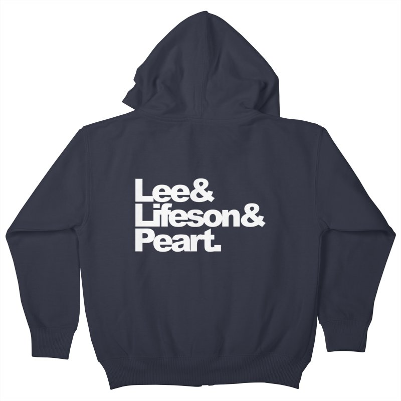 Lee and Lifeson and Peart - black background Kids Zip-Up Hoody by ALMA VISUAL's Artist Shop